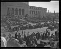Crowd assembled in front of Los Angeles City Hall for Four Square Church parade, Los Angeles, 1936