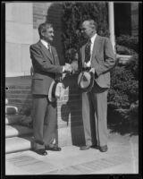 Dr. Frank J. Klingberg welcomes Dr. Leon J. Richardson to UCLA, Los Angeles, circa 1936