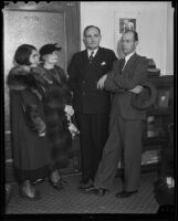 Esther Wilson, Mrs. W. S. Goodrich, William R. McIntyre, and F. G. Harris all witnesses in Hazel Glab murder case, Los Angeles, 1936