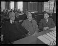 Joseph Scott, Atty. Gen. Webb, and Clyde C. Shoemaker at the Buron Fitts perjury trial, Los Angeles, 1936