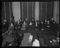 Jury to try Buron Fitts during perjury trial, Los Angeles, 1936