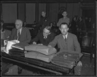 L. H. Lashbrook, Winthrop O. Gordon, and Clyde Shoemaker at Buron Fitts perjury trial, Los Angeles, 1936