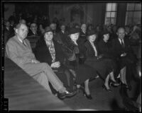 Worth S. Fitts, Ardell Fitts, Marion Fitts and Mrs. L. R. Wharton at Buron Fitts perjury trial, Los Angeles, 1936