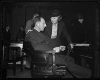 Buron Fitts and wife Marion at his trial for perjury, Los Angeles, 1936
