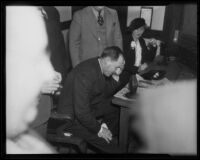 Buron Fitts at his perjury trial, Los Angeles, 1936