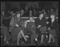 Mrs. Charles Phillips, Bobby Simpson, and Ethel M. Simpson at Buron Fitts perjury trial, Los Angeles, 1936