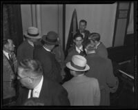 Roy Keane at Buron Fitts perjury trial, Los Angeles, 1936