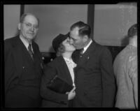 Worth S. Fitts, Marion Fitts, and Buron Fitts after perjury acquittal, Los Angeles, 1936
