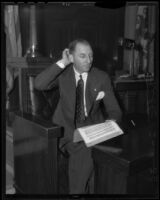 Buron Fitts testifying at his own perjury trial, Los Angeles, 1936
