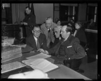 Buron Fitts, William E. Simpson, Joe Scott, and Jerry Giesler at perjury trial, Los Angeles, 1936