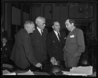 William E. Simpson, Joe Scott, Buron Fitts, and Jerry Giesler at perjury trial, 1936