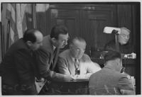 Clyde C. Shoemaker and key witness Lucien C. Wheeler at Buron Fitts perjury trial, Los Angeles, 1936