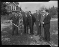 Mayor Glenn Evans, E. P. Higgins, John Staruch, R. K. Johnson, R. G. Knox, and Amos Dubois at post office groundbreaking ceremony, San Gabriel, 1936
