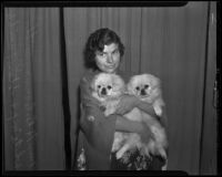 Mrs. H. B. Conaway and her dogs White Imp and Stars Twinkle both born of the same litter, Montebello, 1936
