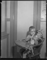 Toddler chews on very large celery stalks, Los Angeles, 1936