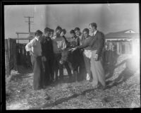 A class of future farmers with a cow, Norwalk, 1935