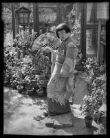 Kimiko Tamura in Toyo Y. Maeda's Japanese garden on North San Pedro Street, Los Angeles, 1935