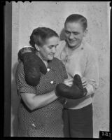 Boxer Wally Hall and his mother Florence, Los Angeles, 1936