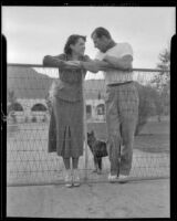 Herman Brix (Bruce Bennett), his wife, Jeanette, and their dog, Palm Springs, 1936