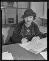 Dorothy Dunbar Wells signing documents, Los Angeles, 1936