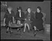 Gathering of the Pan Pipers of the Assistance League members Amelia Hull, Mrs. Bohn Barrington, Helen Gabellini, and Eleanor Anderson McCoy, Los Angeles, 1936