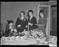 Francis M. Zahn, Dora Shaw Heffner, Vinna Hale Cannon, and Mrs. Hilton McCabe preparing tea, Los Angeles, 1936