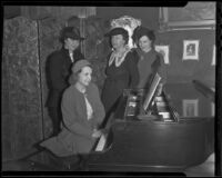 Mrs. Bohn Barrington, Mona Kinsella, Mrs. Russell H. Newting, and Marion Talley, Los Angeles, 1936