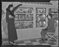 Mrs. George Rufus Smith and Edith Marshutz present a display, Los Angeles, ca. 1936