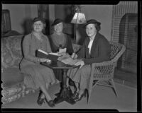 Bernice C. Nysewander, Letha May Houston, and Mrs. Louis A. Williford of the Cosmos Club, Los Angeles, ca. 1936