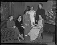 Junior Auxiliary of the Hebrew Sheltering Home for the Aged members Barbara Blumenthal, Barbara Levy, Ilene Freiberg, Shirley Rosenthal, Emmy Anne Joseph, and Mrs. Sol Lesser, Los Angeles, 1936