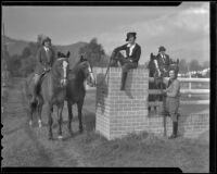 Mrs. A. C. Lillie, Merrie Pfluger, Mrs. Ora Hoke and Mrs. John E. Van Zandt with horses, Los Angeles, 1936