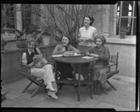 Hollywood Studio Club members Princess Galina Liss, Gwenn Mannering, Charlotte Olston, and Valusta Andrick gather for lunch, Hollywood, 1936