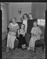 A gathering of Wilshire Juniors Helen Salle, Mrs. Ralph W. Mather, Kay Salle, Mrs. Milton M. Edwards, and Mrs. Paul O. Gunther, Los Angeles, 1936