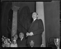 Robert Gordon Sproul delivers a speech at a Bar Association Banquet, Los Angeles, 1936