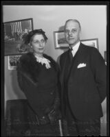 Anna Belle Quintin, secretary, who witnessed the signing of John Gilbert's will, and Charles A. Greene, business manager, Los Angeles, 1936
