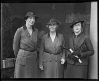 Mildred Esterbrook Mudd, Lou Henry Hoover, and Ethel Winston Whitiing, leaders of the Girl Scouts of the United States of America, Los Angeles, 1936