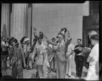 "Chief Many Treaties inducts Judge Minor Moore into the ""Old Glory Braves"", Los Angeles, 1939"
