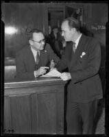 Robert Noble speaks with witness Earle E. Kynette, Los Angeles, 1939