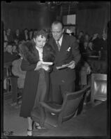 Mr. and Mrs. Robert Noble at Robert Noble's trial, Los Angeles, 1939