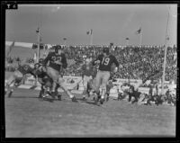 Los Angeles Bulldogs play Cleveland Rams at Gilmore Stadium, Los Angeles, 1938