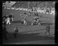 Los Angeles Bulldogs play Cleveland Rams at Gilmore Stadium, Los Angeles, 1938