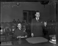 Carlo Curtis and Atty. Isador Gralla at perjury arraignment, Los Angeles, 1938