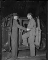 """Deputy Sheriff Johnny Homes arrests William J. """"Curley"""" Guy for murder, Glendale, 1938"""
