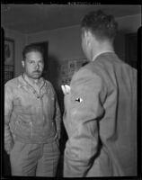 Aviator Eddie de Larm arrested on murder charges, Glendale, 1938