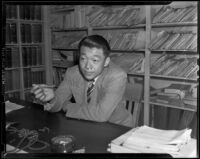 Norman Soong, Chinese-American journalist, Los Angeles, 1938