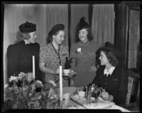 Mrs. Horace Blockman, Jr., Maude Rosson, Cristina Welles, and Betty Welles at tea, Los Angeles, 1938