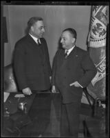 Retiring Police Chief James E. Davis and B. I. Malouf, Los Angeles, 1938