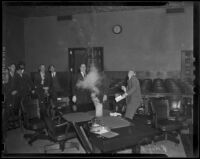 Police chemist Ray Pinker demonstrates chemical explosion in courtroom, Los Angeles, 1938