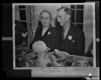 Elias Disney and the late Flora Disney, parents of Walt Disney, Toluca Lake, 1938