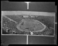 Panorama of crowd at Notre Dame vs. USC game at the Coliseum, Los Angeles, 1938
